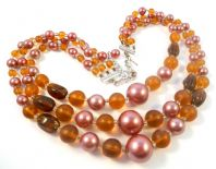 Vintage Triple Stranded Faux Pink Pearl And Amber Bead Necklace.